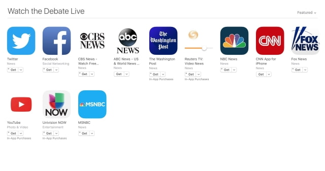 Apple Highlights Apps to Watch the First Presidential Debate Live