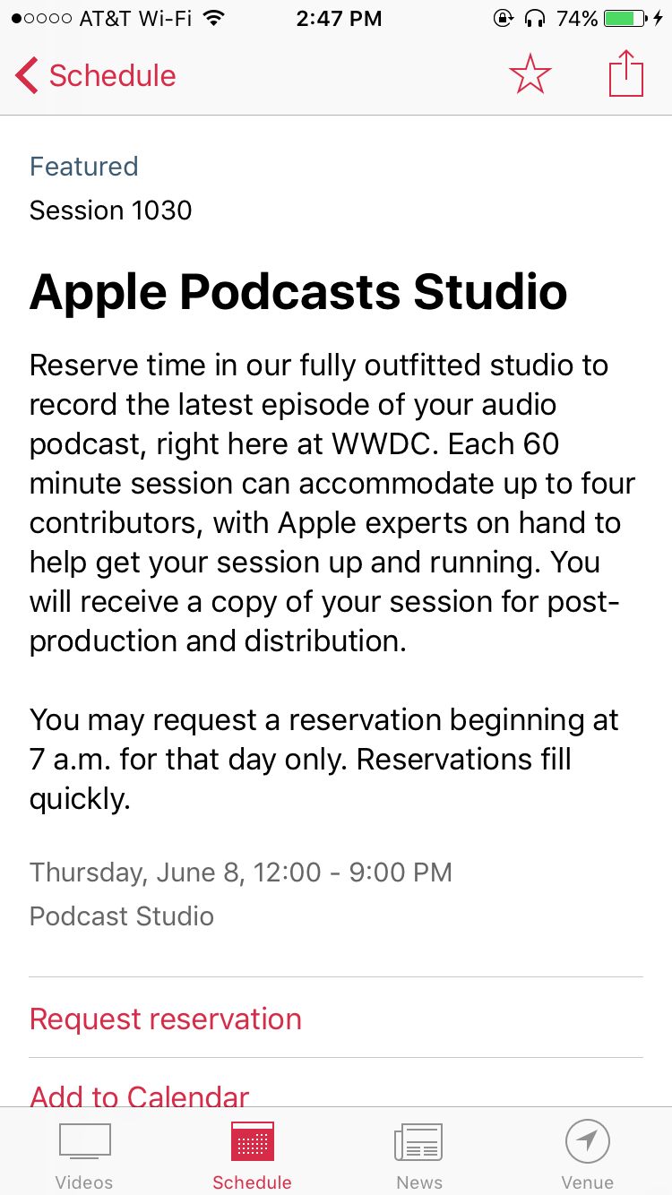 Apple Offers Podcasters Use of On-Site Studio at WWDC